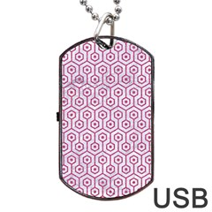 Hexagon1 White Marble & Pink Denim (r) Dog Tag Usb Flash (two Sides) by trendistuff
