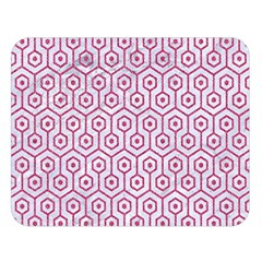 Hexagon1 White Marble & Pink Denim (r) Double Sided Flano Blanket (large)  by trendistuff