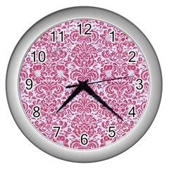 Damask2 White Marble & Pink Denim (r) Wall Clocks (silver)  by trendistuff