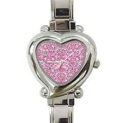 Damask2 White Marble & Pink Denim (r) Heart Italian Charm Watch by trendistuff