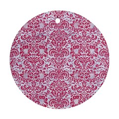 Damask2 White Marble & Pink Denim (r) Round Ornament (two Sides) by trendistuff