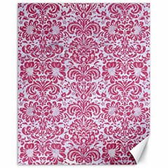 Damask2 White Marble & Pink Denim (r) Canvas 16  X 20   by trendistuff