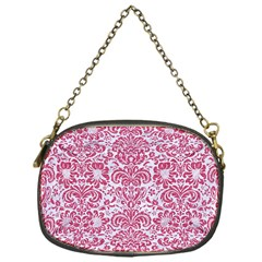 Damask2 White Marble & Pink Denim (r) Chain Purses (one Side)  by trendistuff