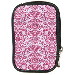Damask2 White Marble & Pink Denim (r) Compact Camera Cases by trendistuff