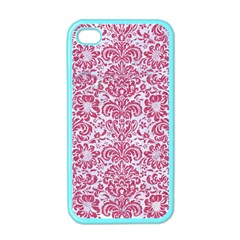 Damask2 White Marble & Pink Denim (r) Apple Iphone 4 Case (color) by trendistuff