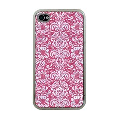 Damask2 White Marble & Pink Denim Apple Iphone 4 Case (clear) by trendistuff