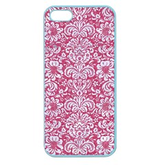 Damask2 White Marble & Pink Denim Apple Seamless Iphone 5 Case (color) by trendistuff