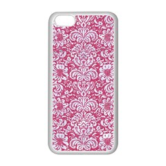 Damask2 White Marble & Pink Denim Apple Iphone 5c Seamless Case (white) by trendistuff