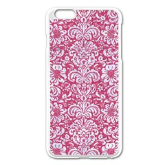 Damask2 White Marble & Pink Denim Apple Iphone 6 Plus/6s Plus Enamel White Case by trendistuff