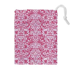 Damask2 White Marble & Pink Denim Drawstring Pouches (extra Large) by trendistuff