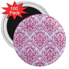 Damask1 White Marble & Pink Denim (r) 3  Magnets (100 Pack) by trendistuff