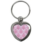 DAMASK1 WHITE MARBLE & PINK DENIM (R) Key Chains (Heart)  Front