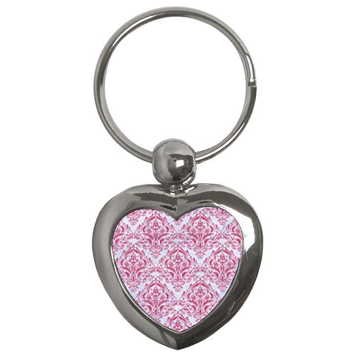 DAMASK1 WHITE MARBLE & PINK DENIM (R) Key Chains (Heart)