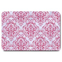 Damask1 White Marble & Pink Denim (r) Large Doormat  by trendistuff