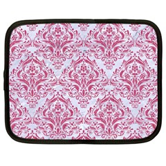 Damask1 White Marble & Pink Denim (r) Netbook Case (xxl)  by trendistuff