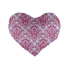 Damask1 White Marble & Pink Denim (r) Standard 16  Premium Flano Heart Shape Cushions by trendistuff