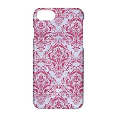 Damask1 White Marble & Pink Denim (r) Apple Iphone 8 Hardshell Case by trendistuff