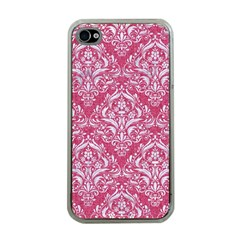 Damask1 White Marble & Pink Denim Apple Iphone 4 Case (clear) by trendistuff