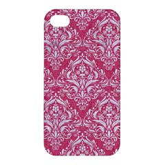 Damask1 White Marble & Pink Denim Apple Iphone 4/4s Hardshell Case by trendistuff