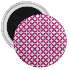 Circles3 White Marble & Pink Denim (r) 3  Magnets by trendistuff
