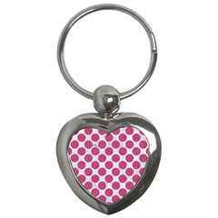 Circles2 White Marble & Pink Denim (r) Key Chains (heart)  by trendistuff