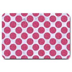 Circles2 White Marble & Pink Denim (r) Large Doormat  by trendistuff