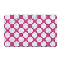 Circles2 White Marble & Pink Denim Magnet (rectangular) by trendistuff