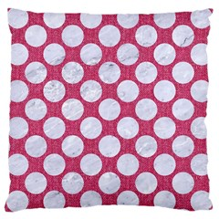 Circles2 White Marble & Pink Denim Large Cushion Case (two Sides) by trendistuff