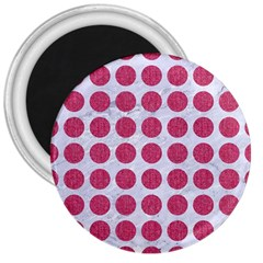 Circles1 White Marble & Pink Denim (r) 3  Magnets by trendistuff