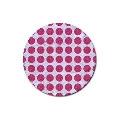 Circles1 White Marble & Pink Denim (r) Rubber Round Coaster (4 Pack)  by trendistuff