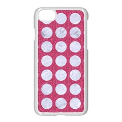 Circles1 White Marble & Pink Denim Apple Iphone 7 Seamless Case (white) by trendistuff