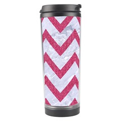Chevron9 White Marble & Pink Denim (r) Travel Tumbler by trendistuff