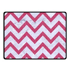 Chevron9 White Marble & Pink Denim (r) Double Sided Fleece Blanket (small)  by trendistuff