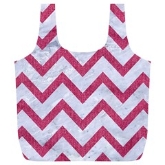 Chevron9 White Marble & Pink Denim (r) Full Print Recycle Bags (l)  by trendistuff