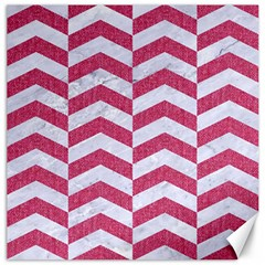 Chevron2 White Marble & Pink Denim Canvas 12  X 12   by trendistuff