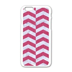 Chevron2 White Marble & Pink Denim Apple Iphone 6/6s White Enamel Case by trendistuff
