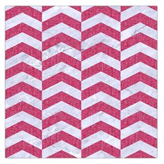 Chevron2 White Marble & Pink Denim Large Satin Scarf (square) by trendistuff
