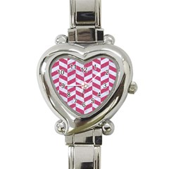 Chevron1 White Marble & Pink Denim Heart Italian Charm Watch by trendistuff