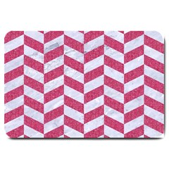Chevron1 White Marble & Pink Denim Large Doormat  by trendistuff