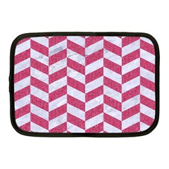 Chevron1 White Marble & Pink Denim Netbook Case (medium)  by trendistuff