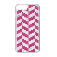 Chevron1 White Marble & Pink Denim Apple Iphone 8 Plus Seamless Case (white) by trendistuff