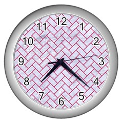 Brick2 White Marble & Pink Denim (r) Wall Clocks (silver)  by trendistuff