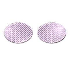 Brick2 White Marble & Pink Denim (r) Cufflinks (oval) by trendistuff
