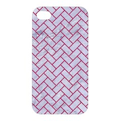 Brick2 White Marble & Pink Denim (r) Apple Iphone 4/4s Hardshell Case by trendistuff