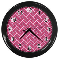 Brick2 White Marble & Pink Denim Wall Clocks (black) by trendistuff