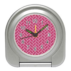 Brick2 White Marble & Pink Denim Travel Alarm Clocks by trendistuff