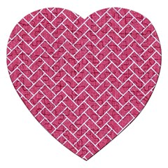 Brick2 White Marble & Pink Denim Jigsaw Puzzle (heart) by trendistuff