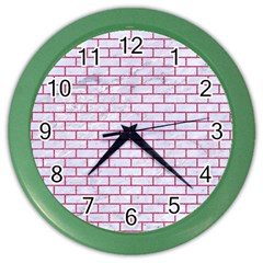 Brick1 White Marble & Pink Denim (r) Color Wall Clocks by trendistuff