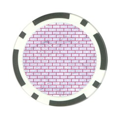 Brick1 White Marble & Pink Denim (r) Poker Chip Card Guard (10 Pack) by trendistuff