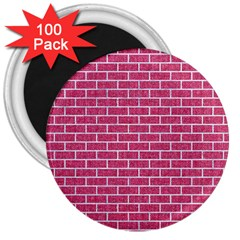 Brick1 White Marble & Pink Denim 3  Magnets (100 Pack) by trendistuff